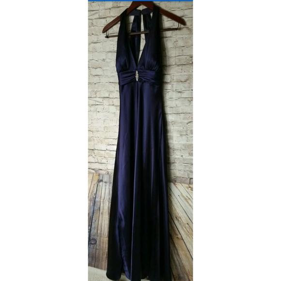 David Bridal Purple Full Length Deep V Sleeveless